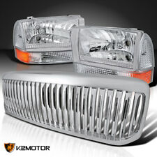Fit 5Pc 1999-2004 F250 F350 Clear Headlights Corner Lamps+Chrome Vertical Grille
