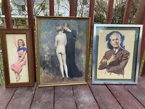 1950s Artist Clement Donshea Original Art Work Nude Oil Painting On Board