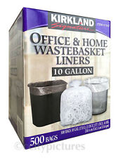 1 Box of 500 Kirkland Office & Home Trash Garbage Wastebasket 10 Gallon Liners