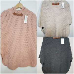 women ladies warm knitted poncho cape hoodie jumper sweater bow detail size 8-14