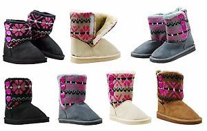 NEW Girl Kid Child Cute Warm Faux Suede FLAT Ankle Winter Sweater Boot All Size