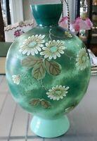 Late 19th Century English Victorian Bristol Glass Light Jade Floral Motif Vase