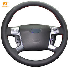 Black Genuine Leather Steering Wheel Cover Wrap for Ford Mondeo 2007-2012 Mk4