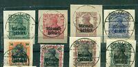 Memel, auf Germania  Nr. 1 - 8 gestempelt auf Briefstücken
