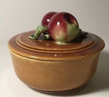Vintage Wade Pottery USA Calif 202 Covered Apple Dish, Brown Drip Glaze