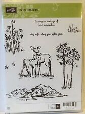 Stampin Up IN THE MEADOW clear mount stamps NEW deer mountains stems