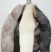"Chic 15"" Faux Large Red/Silver Fox Tail Keychain Fur Tassel Bag Tag Keyring"