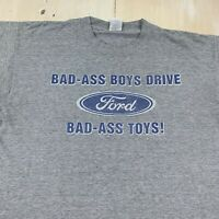 BAD ASS BOYS - Vtg 90s Gray Distressed DRIVE FORD TRUCK TOYS T-shirt, Mens XL