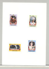 Grenada #1298-1301 Queen Mother 85th Birthday 3v & S/S Imperf Proofs on 2v Cards