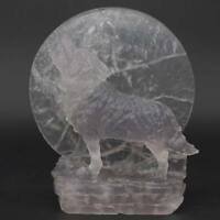 Wolf Statue Under The Moon Natural Gemstone Fluorite Crystal Healing Reiki Decor
