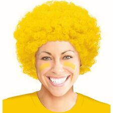 Yellow clown wig curly afro hair Fancy dress costume Football
