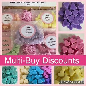 20 HIGHLY SCENTED SMALL HEART SHAPED HANDMADE 100% SOY WAX MELTS **FREE P&P**