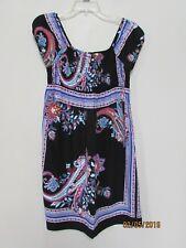 xhilaration Size M junior's Dress Boho Paisley Black Blue Pink Smocked Sweet KM