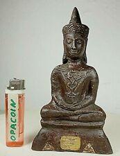 S. alter Bronze Buddha Unikat 1A Patina mit Unalome Gravur ORIGINAL  Laos ~1950