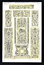 1868 Owen Jones Ornament Print Renaissance No 3 Reliefs Rome Venice Genoa Italy