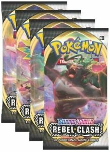 Pokemon - Sword & Shield Rebel Clash - 4 Booster Packs - New and Sealed - Random