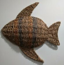 Hand Woven Twisted Rope Natural Wicker Fish Sculpture Metal Frame Nautical Art