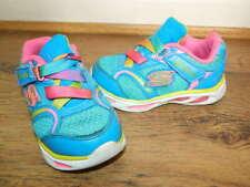 infant Skechers S-Lights blue/pink hook&loop shoes trainers uk 5 eur 21.5