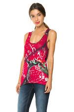 Desigual Women's Red Strawberry Print Budapest Vest S-XXL UK 10-18 RRP�39