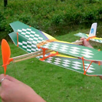 Rubber Band Elastic Powered Flying Glider Plane Airplane QA Model Toy F9D9 X3H8