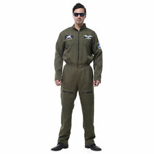 Adult Mens Top Flight Suit Uniform Gun Pilot Aviator Deluxe Fancy Dress Costume