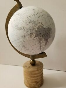 """VINTAGE 13"""" DIAMETER GLOBE WITH BRASS AND WOODEN BASE SUPER UNIQUE GREY SHADE!!!"""