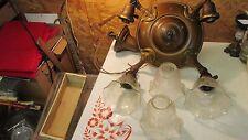 Antique Brass Chandelier & 4 Etched Shades