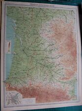 1922 LARGE ANTIQUE MAP- FRANCE, SOUTH WESTERN SECTION