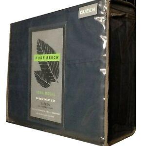 New DARK BLUE Pure Beech 400 Thread Count 100% Modal Sateen QUEEN Sheet Set