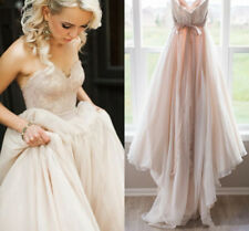 Blush Pink Lace Top Wedding Dresses Sweetheart Backless Bow Sash Boho Bridal