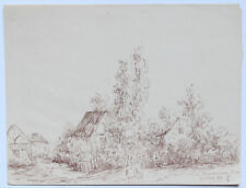DESSIN MONTMAURE (EURE ) PAYSAGE JUILLET 1884