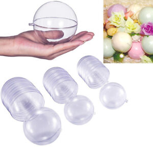 5/6/8/10CM 2-part Fillable Spheres Baubles Clear Plastic Craft Ball Wedding Xmas