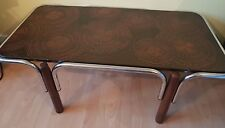 Vintage Retro Orange & Brown Swirl Coffee Table With Chrome Supports