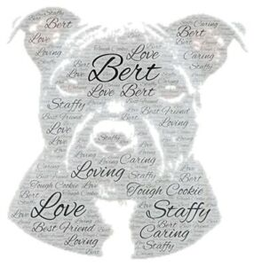 Personalised Word Art Staff Dog Picture Print only Gift  Present Staffordshire