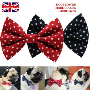 New Dog Bow Tie Bowtie Dots  Elastic Band attach Slide on COLLAR  Handmade UK