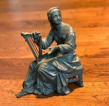 1800s BEAUTIFUL Woman HARP PLAYER Spelter Metal STATUE Clock Sculpture VICTORIAN