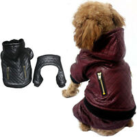 Warm Pet dog Jumpsuit Cat Dog Pu Leather Jacket Puppy Clothes Coat Costume S-XL