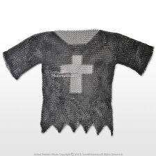 Black Large Medieval Chainmail Shirt Steel Butted Half Sleeve with Templar Cross