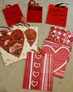 Lot of 8 Happy Valentine's Day Red Love Heart Wedding Anniversary Gift Bags