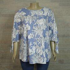91547222e238d Ingrid & Isabel Maternity Blouse Shirt 2XL Blue White Floral Print Tie  Sleeve