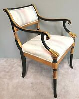 KARGES Neoclassical French Regency Armchair Ebony Finish w Gold Leaf Accents
