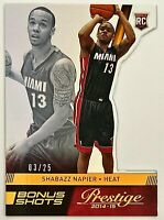 2014-15 Prestige PREMIUM Shabazz Napier RC #d 3/25 Bonus Shots Orange UConn Heat