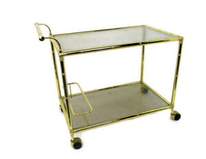 Bar Cocktail Cart Trolley Hollywood Regency Kitchen Island Brass Bamboo Style