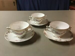 """ANTIQUE Silesia """"Clarion"""" Soup/Bouillon Two Handled Cups w/Saucers-EXCELLENT!"""