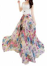 Afibi Women Floral Print Pleated Vintage Chiffon Long Maxi Skirt XXX-Large, S-66