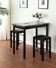 Small Table And Chairs Bistro Counter 2 Stools Hardwood 3 Piece Kitchen Prep Set