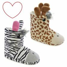 Girls animal slippers boots giraffe zebra bootees novelty 3D