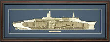 Wood Cutaway Model of Queen Elizabeth 2 - Made in the USA
