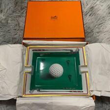 HERMES Authentic Ashtray Golf design pattern Tray Cigar Porcelain Paris Plate
