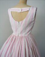 1950's Pink White Candy Stripe Dress True Vintage